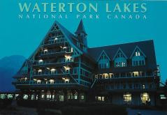 The elegant Prince of Wales Hotel in Canada's Waterton Lakes National Park lies just across the international border from Glacier National Park. An arrow stuck on this postcard indicated the window of the room we stayed in—the lighted window in the gable to the far right—which overlooked the lake.
