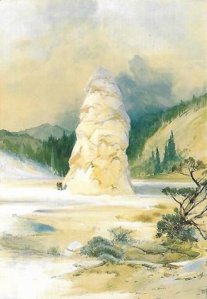 "In 1871 artist Thomas Moran accompanied an early exploratory expedition to the Yellowstone region. It would become the world's first national park in 1872, thanks in part to his paintings that showcased its wonders. This watercolor by Moran depicts ""The Hot Springs of Gardiner's River, Extinct Geyser Crater."" The height of the pillar-like deposit called Liberty Cap is greatly exaggerated."