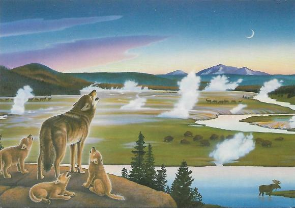 "This painting by Monte Dolack celebrates ""Restoring the Wolf to Yellowstone Park."" It shows several other species as well among the hot springs and geysers."