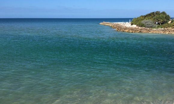 The ocean at Blind Pass, the narrow channel separating Sanibel and Captiva islands in Florida.