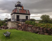 Colchester Reef Light (1871) was built on Lake Champlain north of Burlington, Vermont. Abandoned and deteriorating, it was disassembled in 1952 and moved to the nearby Shelburne Museum, where the restored lighthouse stands today.