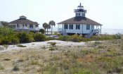 Port Boca Grande Lighthouse (1890) stands on Gasparilla Island along the southwest Gulf Coast of Florida. The structure served as both lighthouse and keeper's residence. The assistant keeper lived in the nearly identical dwelling next to it.