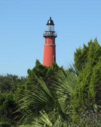 Painted red from top to bottom, Ponce Inlet Lighthouse (1887) stands along the Atlantic shore south of Daytona Beach. At 175 feet, it is the second tallest brick lighthouse (after Cape Hatteras) in the country.