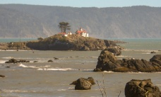 Battery Point Lighthouse (1856) stands on an island just offshore of Crescent City, California. In 1964 it survived a devastating tsunami that slammed Crescent City with 20-foot waves. The tsunami was caused by the 9.2 magnitude Alaskan earthquake, one of the most powerful ever recorded.