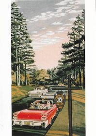 This illustration for a 1959 Standard Oil Company roadmap shows cars on the Natchez Trace Parkway.