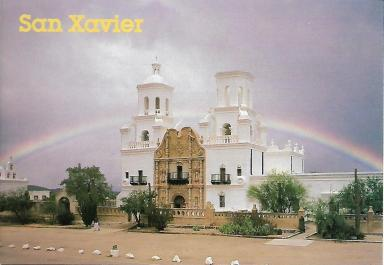 The beautiful San Xavier del Bac Mission south of Tucson, built in 1783 and carefully preserved.