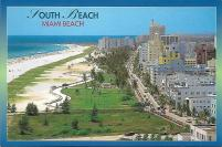 A nice view of South Beach in Miami Beach and its famous Art Deco hotels along Ocean Drive.