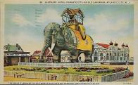 A reproduction of a vintage postcard of Lucy the Elephant in Margate City on the Jersey Shore. It's no longer a hotel, but you can still visit and climb up inside.