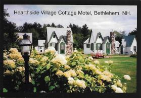 On a 2002 trip through New England, Sue and I stayed at several old cabin court motels, including this especially cute one, Hearthside Village Cottage Motel in Bethlehem, New Hampshire.