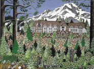 This springtime view of Timberline Lodge on Mount Hood is another Oregon painting by Jennifer Lake Miller.
