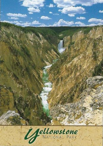 The Yellowstone River drops more than 300 feet at its Lower Falls in Yellowstone National Park. This image doesn't quite capture the spectacular colors of the canyon walls.