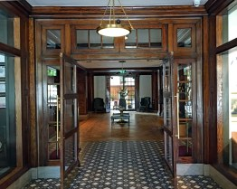 The hotel lobby entrance.